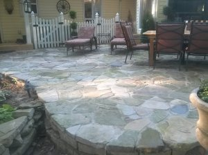 The new rock patio.